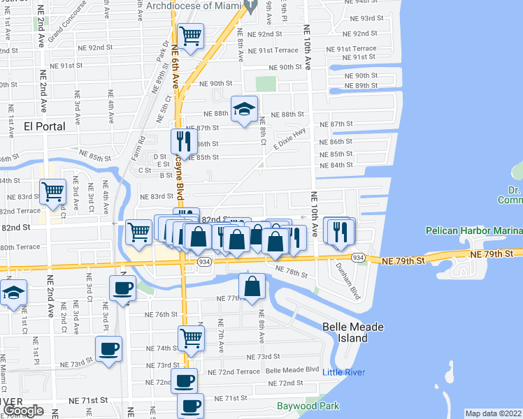 map of restaurants, bars, coffee shops, grocery stores, and more near 8228 Northeast 8th Court in Miami