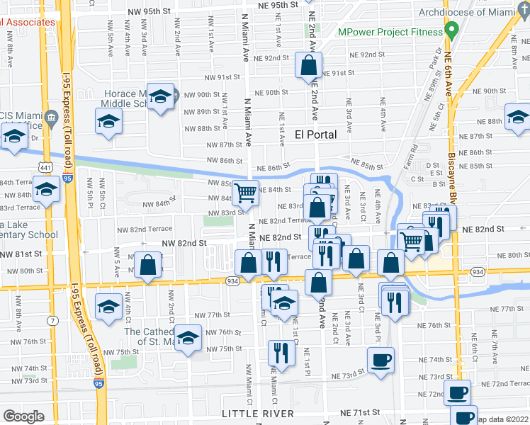 map of restaurants, bars, coffee shops, grocery stores, and more near 8275 Northeast Miami Court in Miami