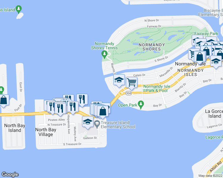 map of restaurants, bars, coffee shops, grocery stores, and more near 2150 Bay Drive in Miami Beach