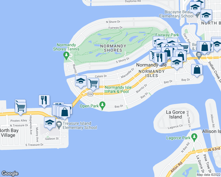 map of restaurants, bars, coffee shops, grocery stores, and more near 1770 Normandy Drive in Miami Beach