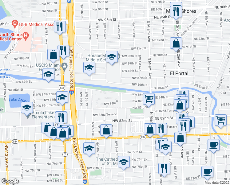 map of restaurants, bars, coffee shops, grocery stores, and more near 260 Northwest 85th Street Road in Miami