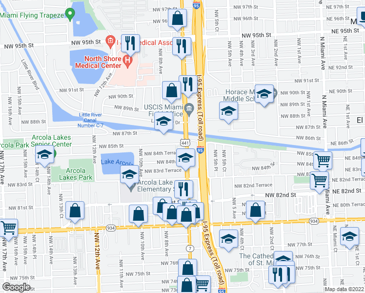 map of restaurants, bars, coffee shops, grocery stores, and more near 716 Northwest 85th Street in Miami