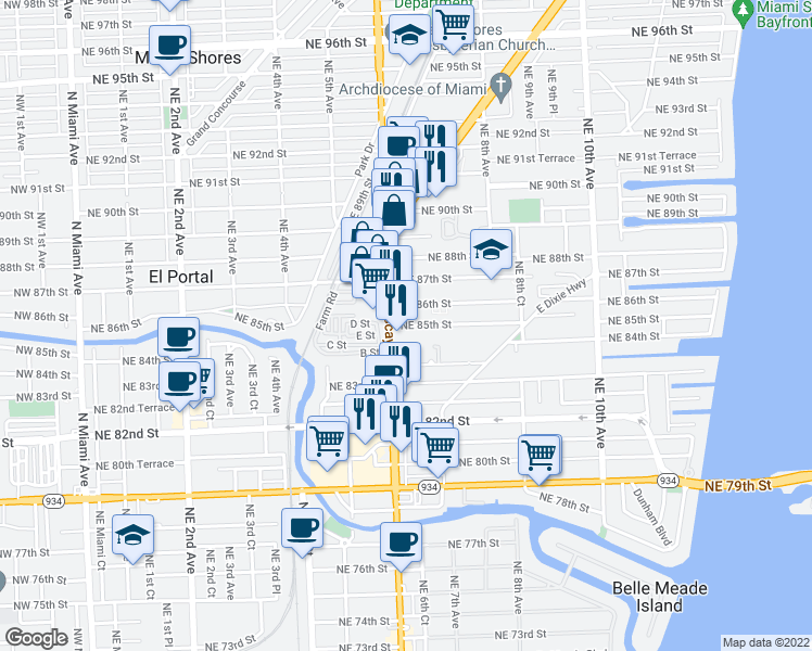 map of restaurants, bars, coffee shops, grocery stores, and more near 640 Northeast 86th Street in Miami