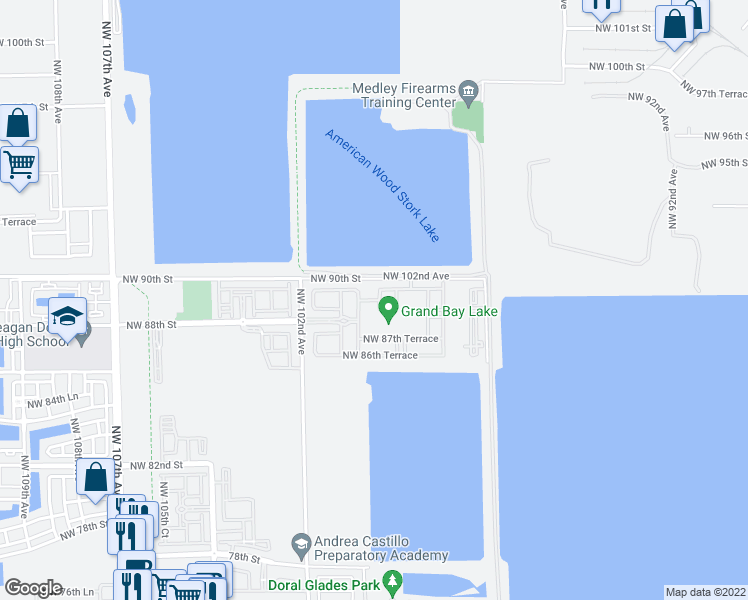 map of restaurants, bars, coffee shops, grocery stores, and more near Northwest 89th Terrace in Doral