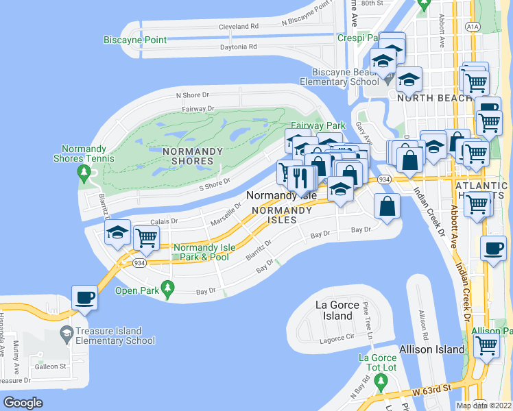 map of restaurants, bars, coffee shops, grocery stores, and more near 1397 Normandy Drive in Miami Beach