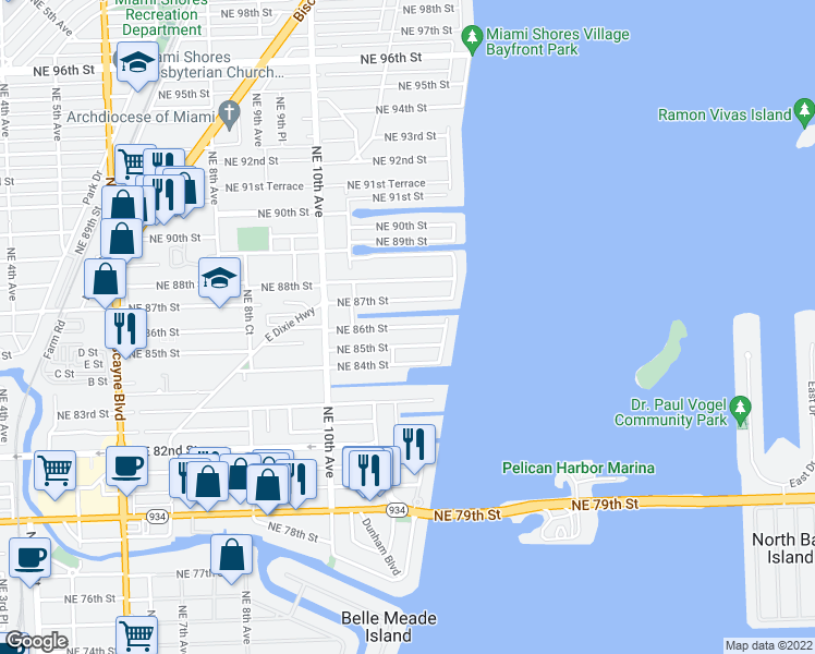 map of restaurants, bars, coffee shops, grocery stores, and more near Northeast 86th Street in Miami