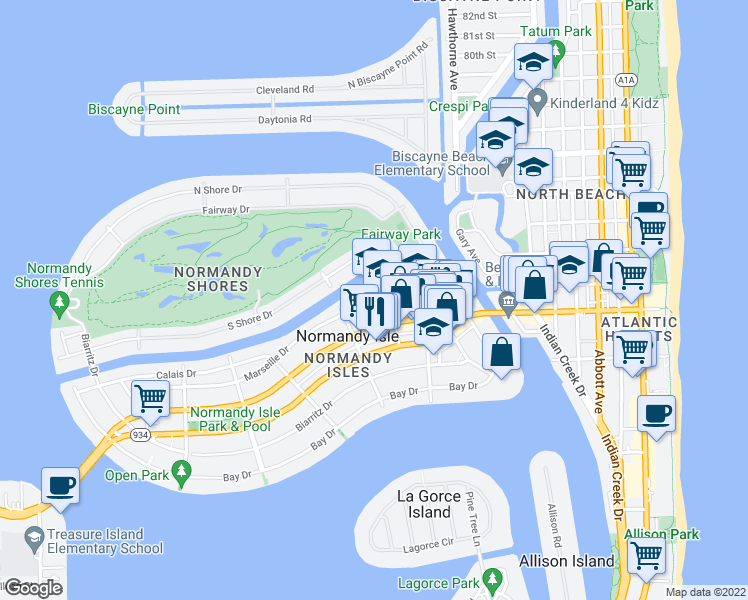 map of restaurants, bars, coffee shops, grocery stores, and more near 1185 Marseille Drive in Miami Beach