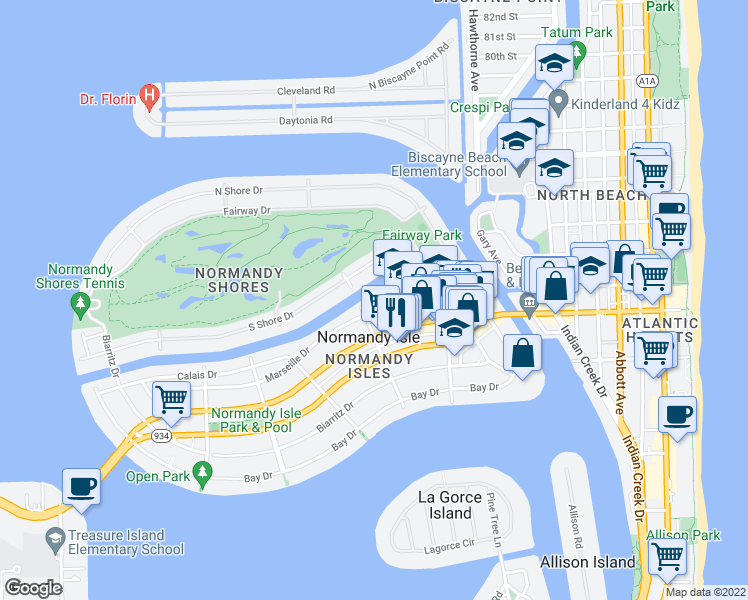 map of restaurants, bars, coffee shops, grocery stores, and more near 1239 Marseille Drive in Miami