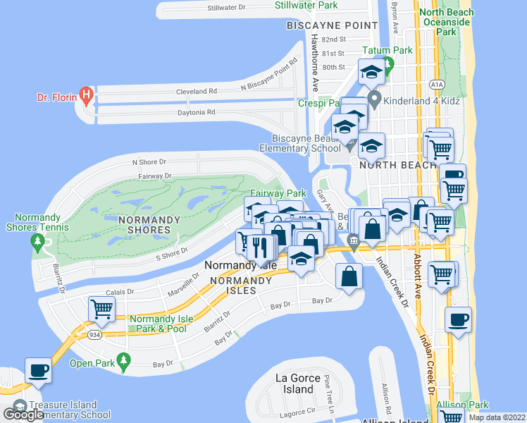 map of restaurants, bars, coffee shops, grocery stores, and more near 110 South Shore Drive in Miami