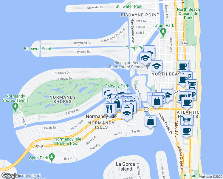 map of restaurants, bars, coffee shops, grocery stores, and more near 105 South Shore Drive in Miami Beach