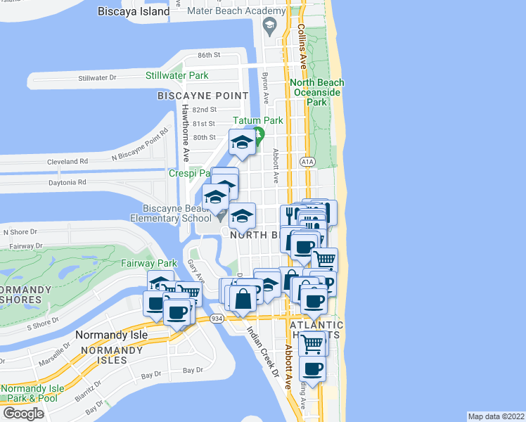 map of restaurants, bars, coffee shops, grocery stores, and more near 7640 Byron Ave in Miami Beach