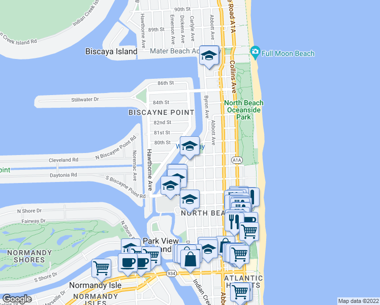 map of restaurants, bars, coffee shops, grocery stores, and more near 7930 Tatum Waterway Drive in Miami Beach