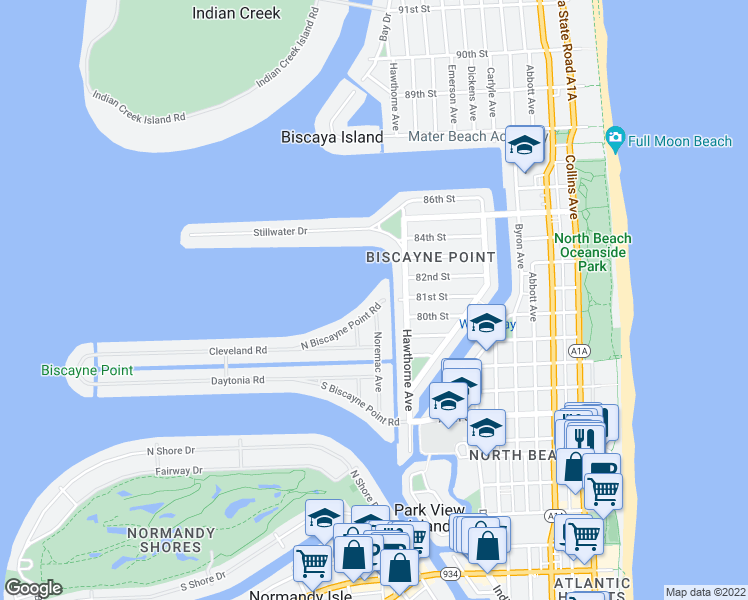 map of restaurants, bars, coffee shops, grocery stores, and more near 1155 North Biscayne Point Road in Miami Beach