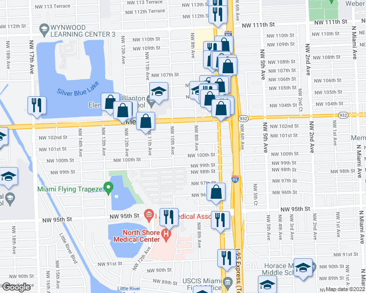 map of restaurants, bars, coffee shops, grocery stores, and more near 910 Northwest 101st Street in Miami