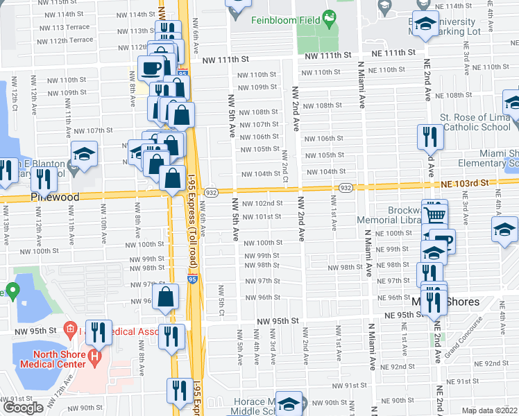 map of restaurants, bars, coffee shops, grocery stores, and more near 326 Northwest 102nd Street in Miami