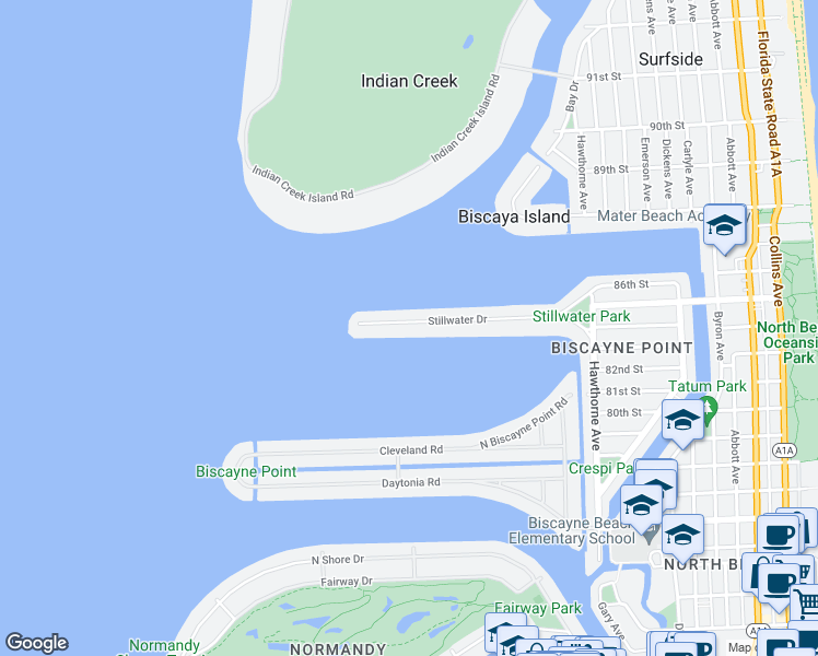map of restaurants, bars, coffee shops, grocery stores, and more near 1440 Stillwater Drive in Miami Beach