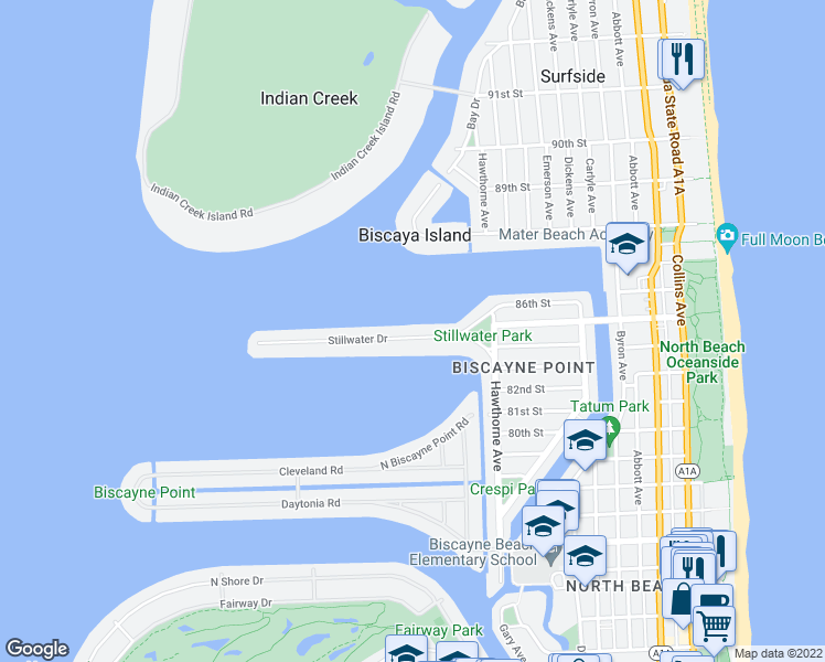 map of restaurants, bars, coffee shops, grocery stores, and more near 1110 Stillwater Drive in Miami Beach