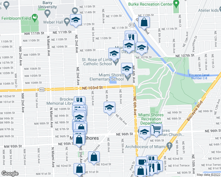 map of restaurants, bars, coffee shops, grocery stores, and more near 424 Northeast 103rd Street in Miami Shores