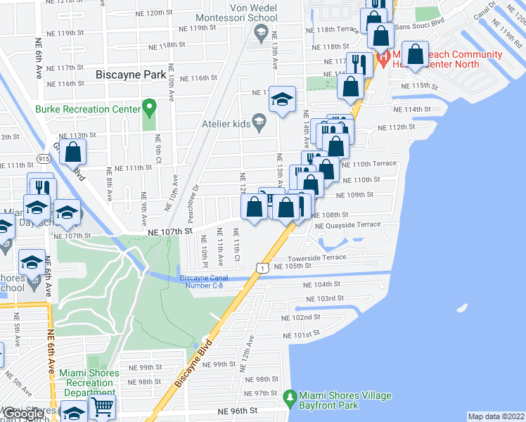 map of restaurants, bars, coffee shops, grocery stores, and more near 1251 Northeast 108th Street in Miami