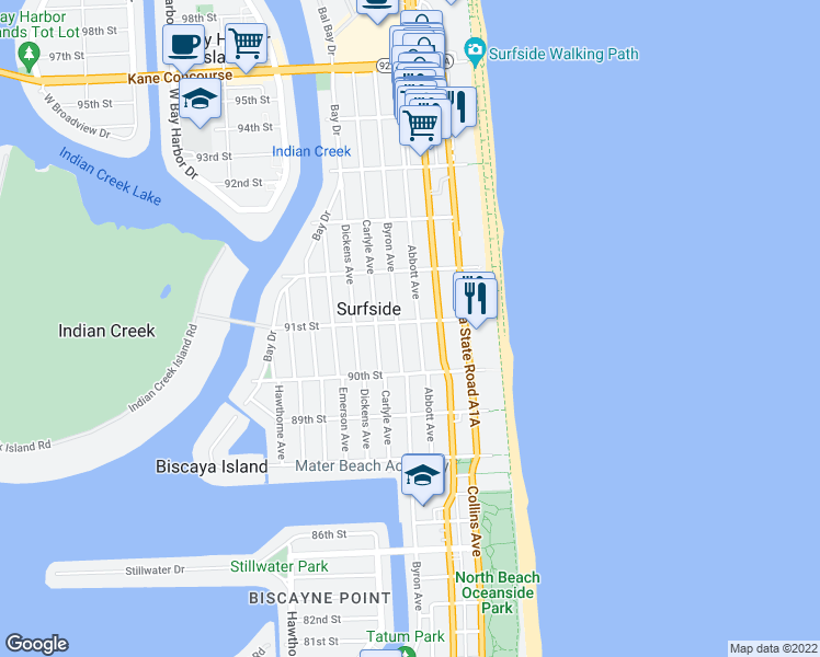 map of restaurants, bars, coffee shops, grocery stores, and more near 409 91st Street in Surfside