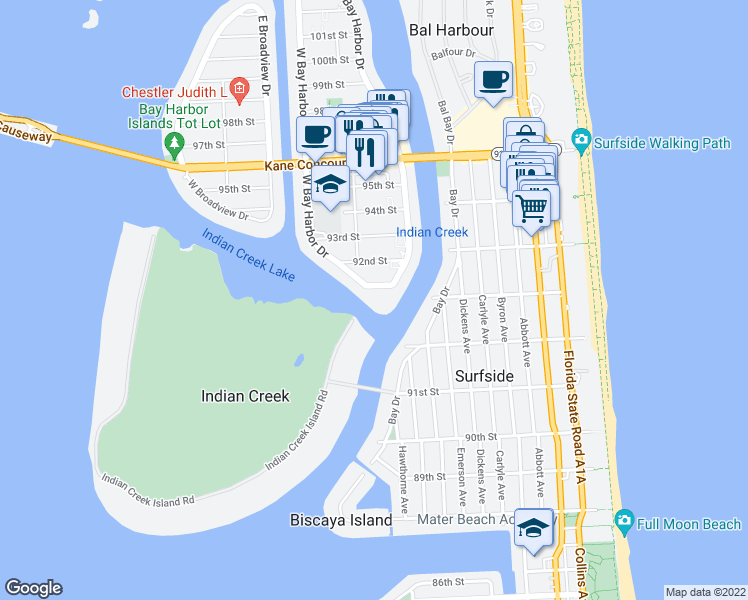 map of restaurants, bars, coffee shops, grocery stores, and more near 9102 West Bay Harbor Drive in Bay Harbor Islands