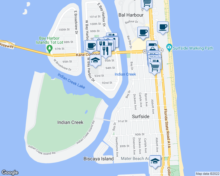 map of restaurants, bars, coffee shops, grocery stores, and more near 1001 91st Street in Bay Harbor Islands