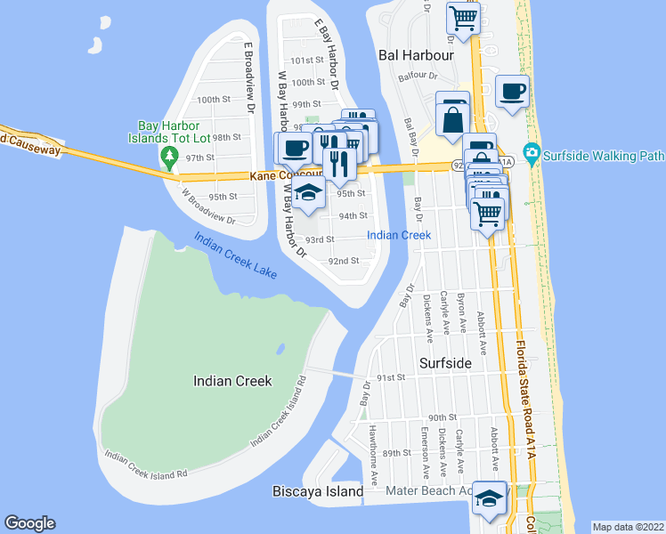 map of restaurants, bars, coffee shops, grocery stores, and more near 9181 West Bay Harbor Drive in Bay Harbor Islands
