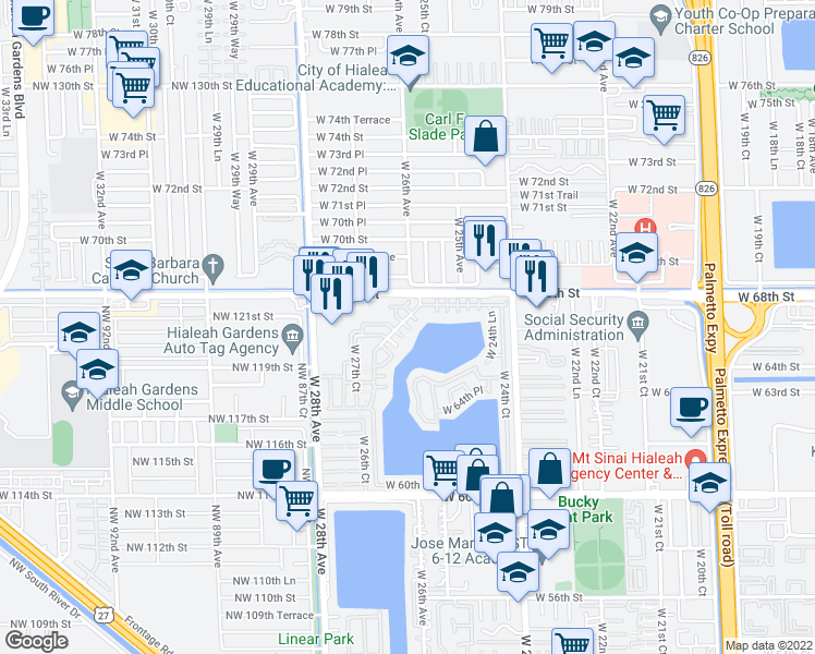 map of restaurants, bars, coffee shops, grocery stores, and more near 6730 West 26th Drive in Hialeah