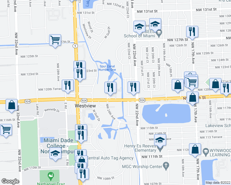 map of restaurants, bars, coffee shops, grocery stores, and more near 2351 Northwest 119th Street in Miami