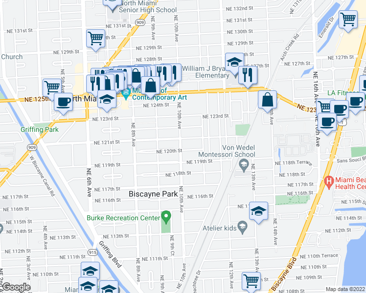 map of restaurants, bars, coffee shops, grocery stores, and more near 12015 Northeast 10th Avenue in Biscayne Park