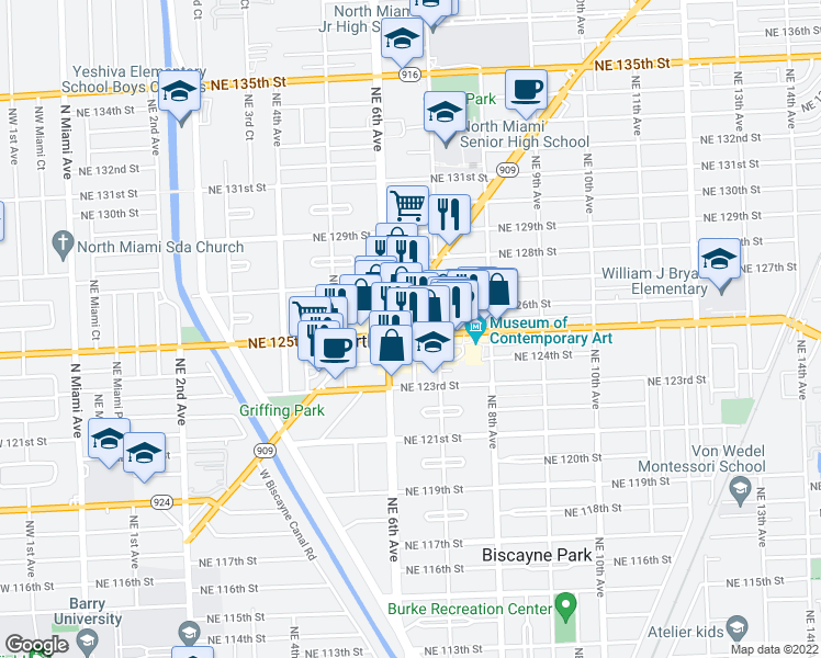 map of restaurants, bars, coffee shops, grocery stores, and more near 633 Northeast 125th Street in North Miami
