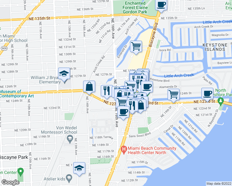 map of restaurants, bars, coffee shops, grocery stores, and more near 12401 Northeast 16th Avenue in North Miami