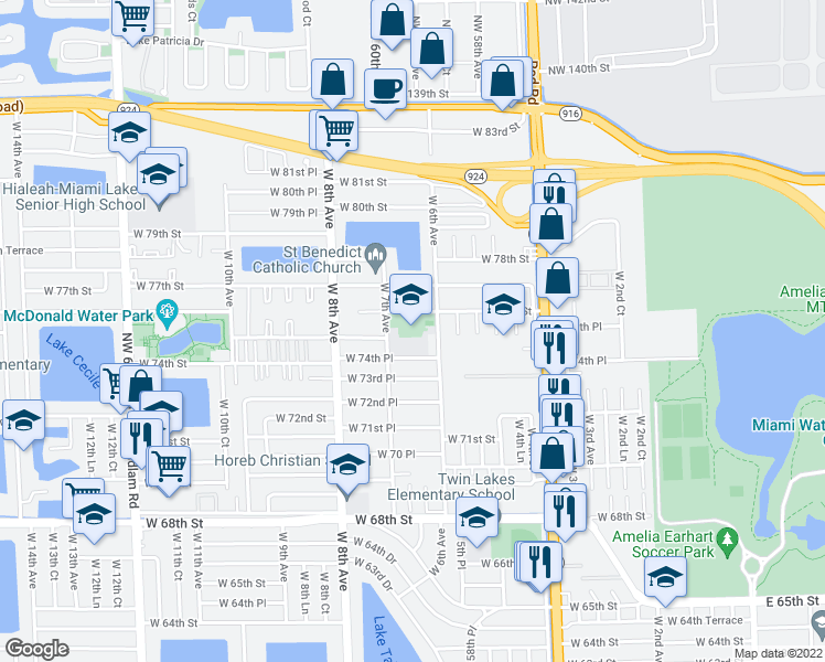map of restaurants, bars, coffee shops, grocery stores, and more near 645 West 76th Street in Hialeah