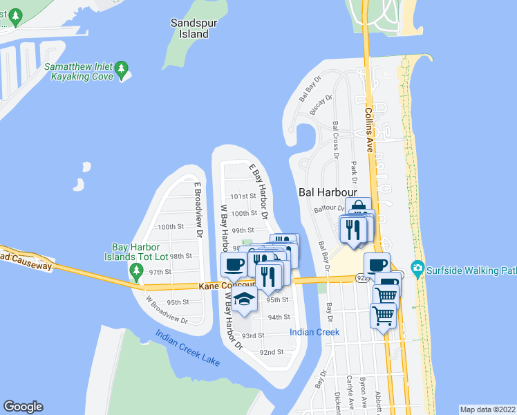 map of restaurants, bars, coffee shops, grocery stores, and more near 10002 East Bay Harbor Drive in Bay Harbor Islands