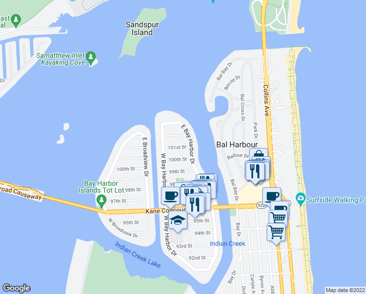 map of restaurants, bars, coffee shops, grocery stores, and more near 1109 101st Street in Bay Harbor Islands