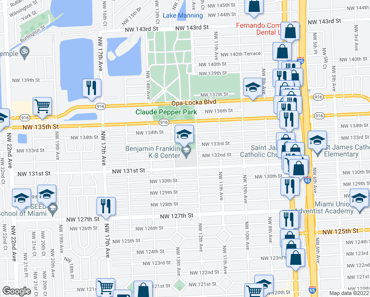 map of restaurants, bars, coffee shops, grocery stores, and more near 13100 Northwest 12th Avenue in North Miami