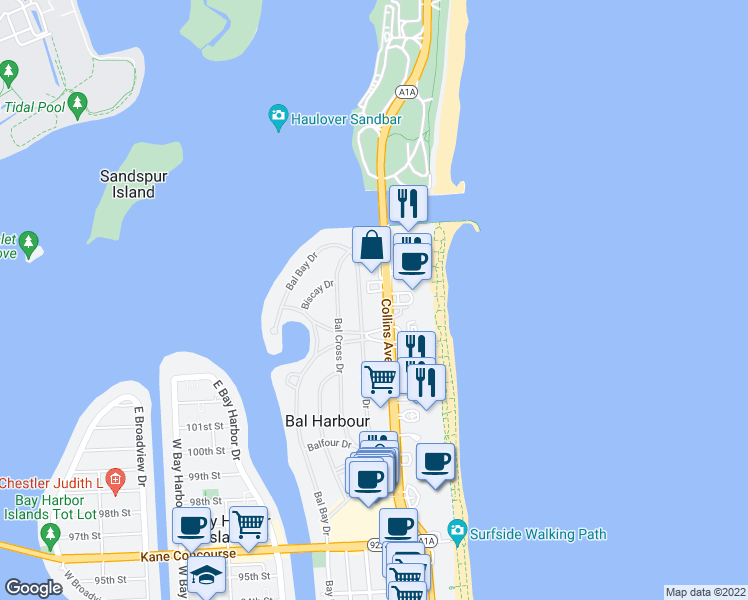 map of restaurants, bars, coffee shops, grocery stores, and more near 10230 Collins Avenue in Bal Harbour