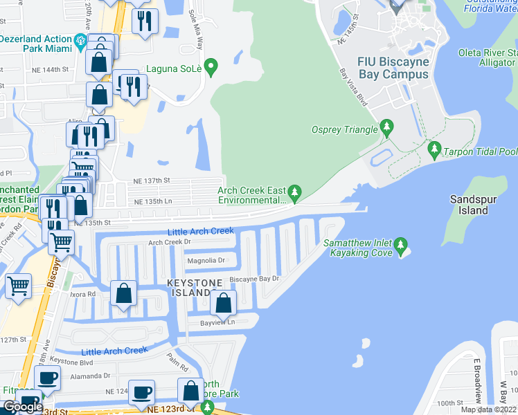 map of restaurants, bars, coffee shops, grocery stores, and more near 2525 Northeast 135th Street in North Miami