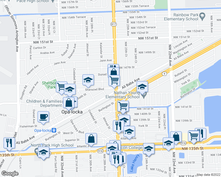 map of restaurants, bars, coffee shops, grocery stores, and more near 14380 Florida 817 in Opa-locka