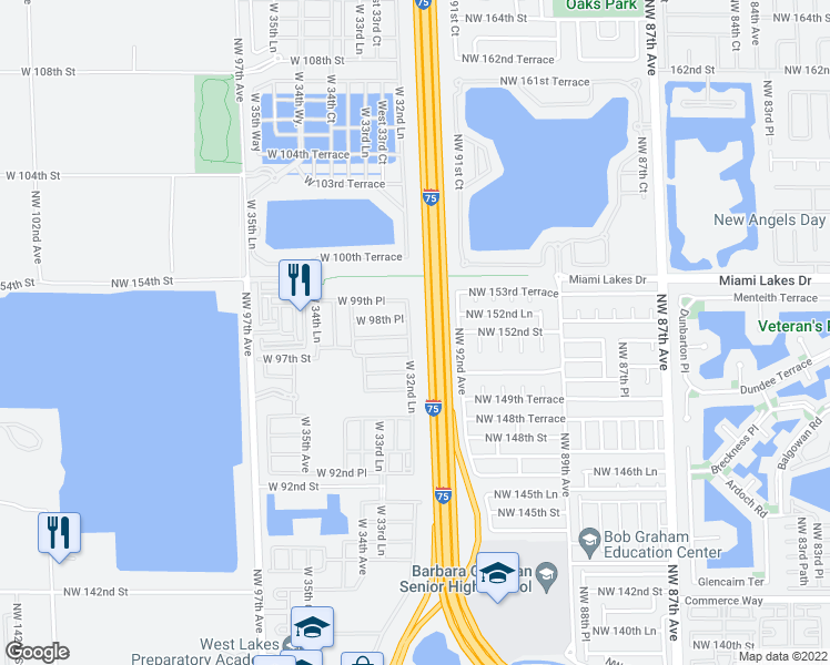 map of restaurants, bars, coffee shops, grocery stores, and more near 9765 West 32nd Lane in Hialeah