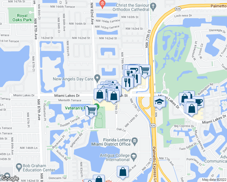 map of restaurants, bars, coffee shops, grocery stores, and more near 8040 Northwest 155th Street in Hialeah