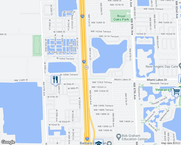map of restaurants, bars, coffee shops, grocery stores, and more near 15668 Northwest 91st Court in Miami Lakes