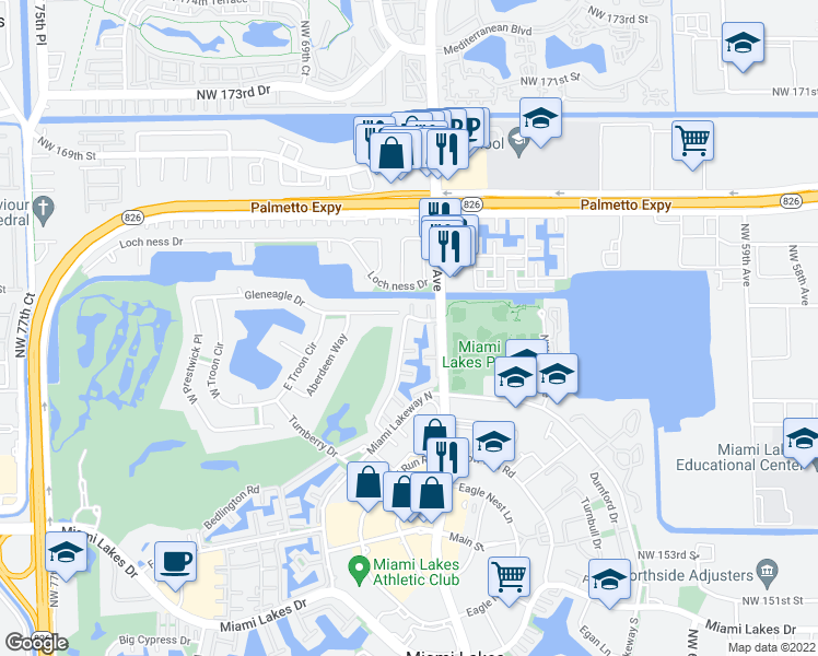 map of restaurants, bars, coffee shops, grocery stores, and more near 6746 Kingsmoor Way in Miami Lakes