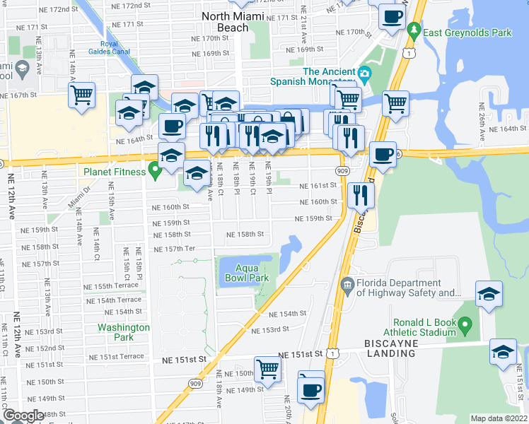 map of restaurants, bars, coffee shops, grocery stores, and more near 15940 Northeast 19th Place in North Miami Beach
