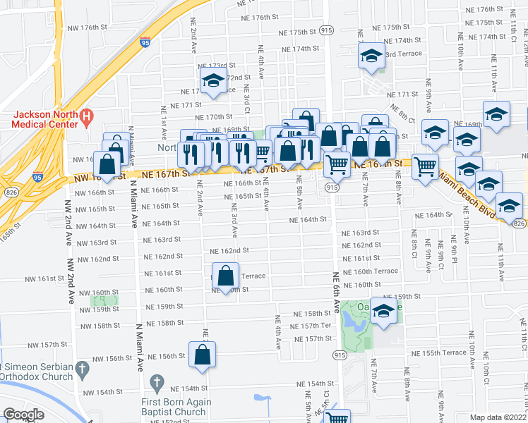 map of restaurants, bars, coffee shops, grocery stores, and more near 390 Northeast 164th Terrace in Miami