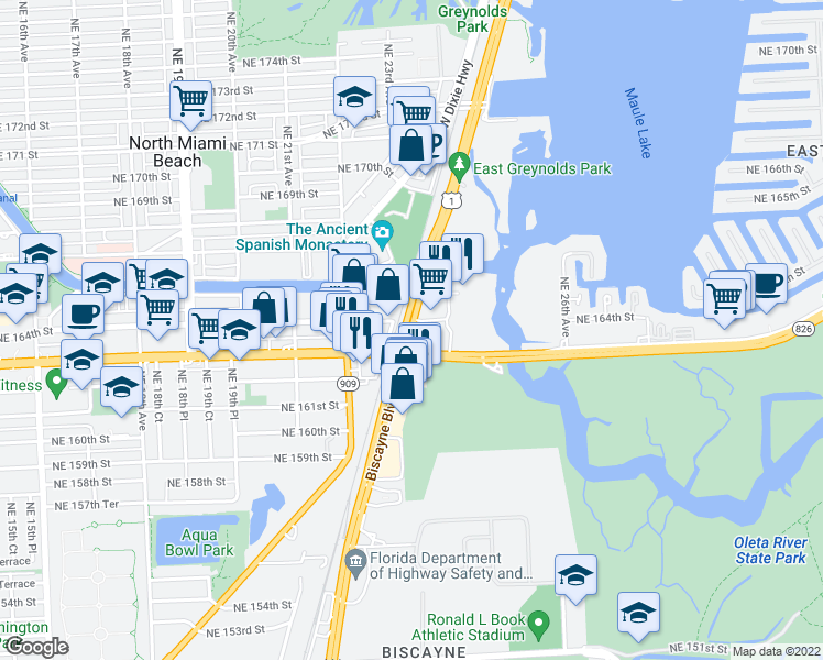 map of restaurants, bars, coffee shops, grocery stores, and more near 2269 Northeast 164th Street in North Miami Beach