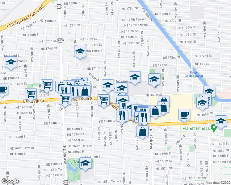 map of restaurants, bars, coffee shops, grocery stores, and more near 999 Northeast 167th Street in North Miami Beach