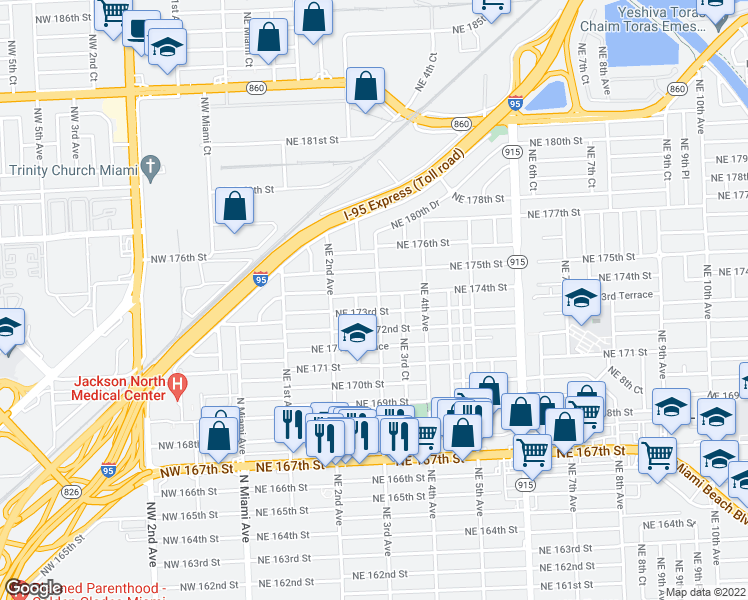 map of restaurants, bars, coffee shops, grocery stores, and more near 290 Northeast 174th Street in North Miami Beach