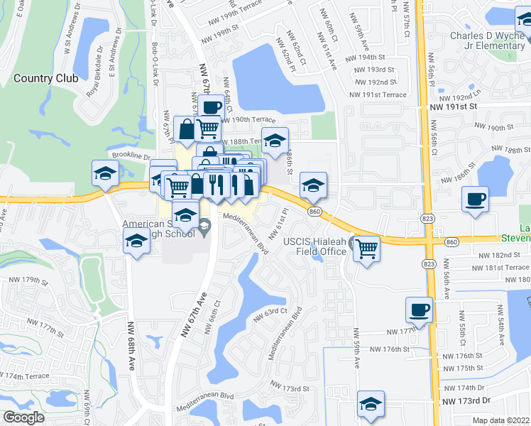 map of restaurants, bars, coffee shops, grocery stores, and more near 6292 Northwest 186th Street in Hialeah