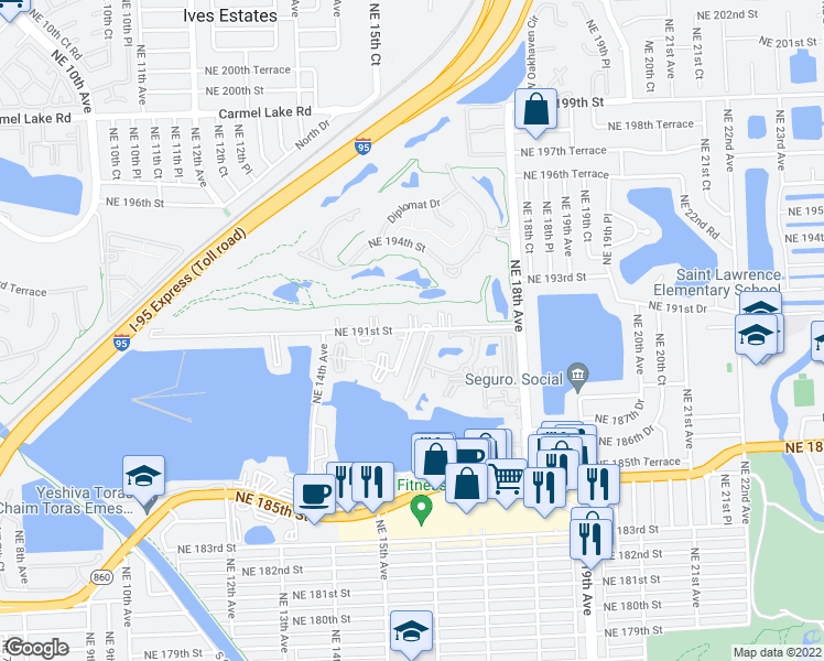 map of restaurants, bars, coffee shops, grocery stores, and more near 1601 Northeast 191st Street in North Miami Beach